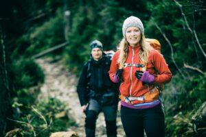 Couple hikers walking hiking